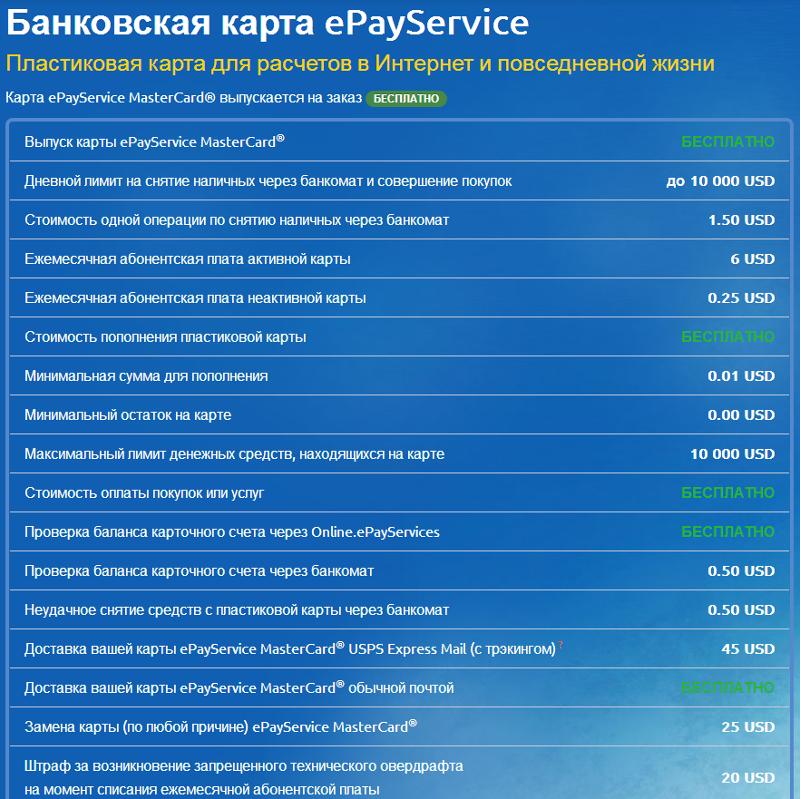 Условия банковской карты epayservice