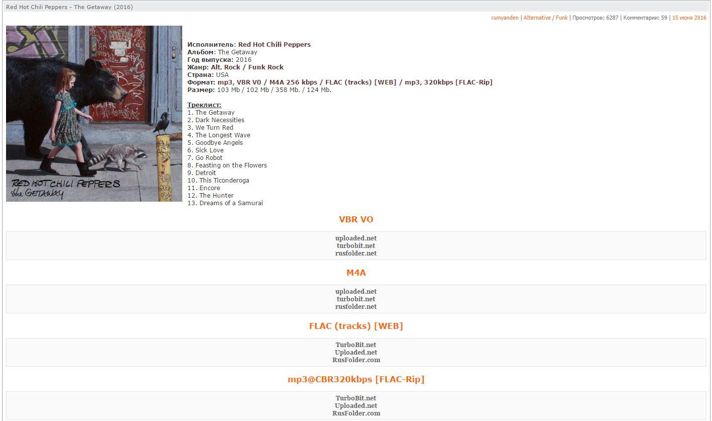 Страница альбома на getalbums.ru